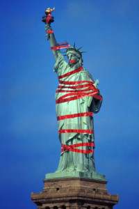 Statue of Liberty bound in red tape