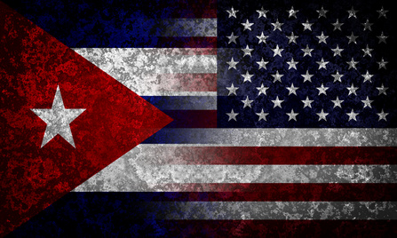Flags of Cuba and USA. Diplomatical concept.
